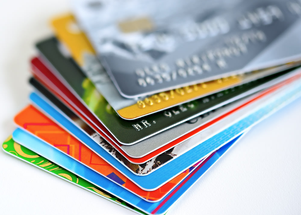 A stack of colorful credit cards