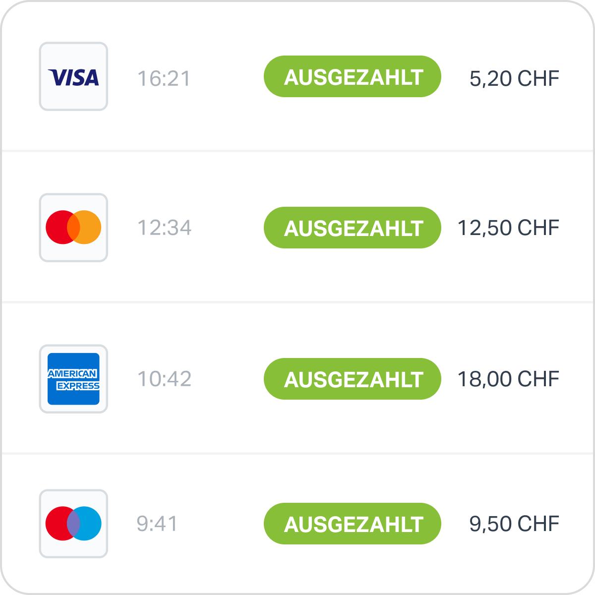 Ein Bildschirm der SumUp App zeigt die verarbeiteten Auszahlungen an