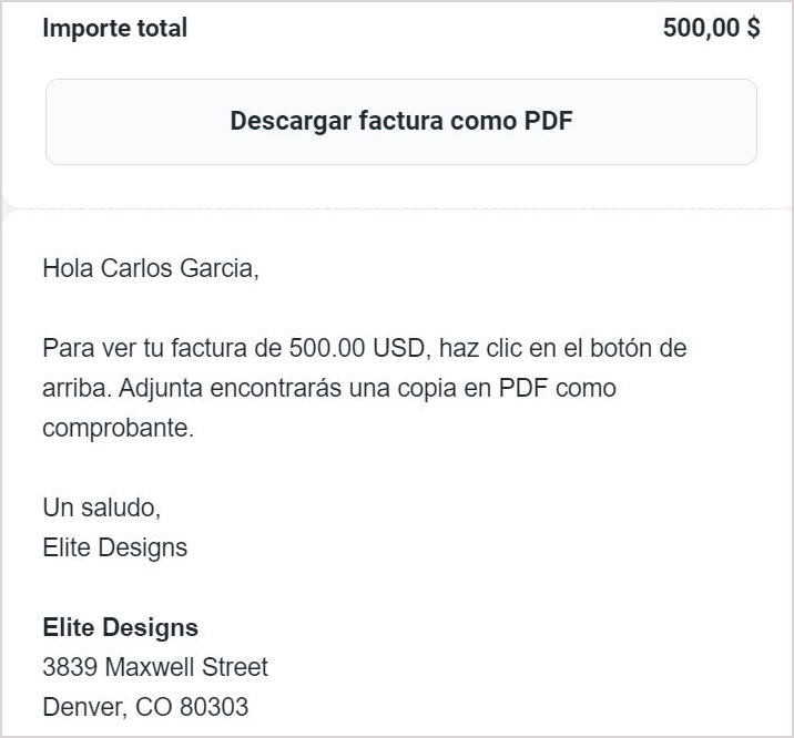 Example of how SumUp Invoices translated your invoice email to Spanish.