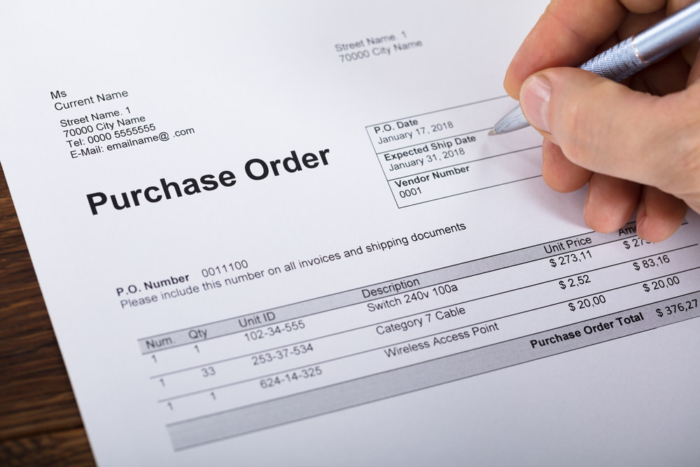 closeup of a purchase order template