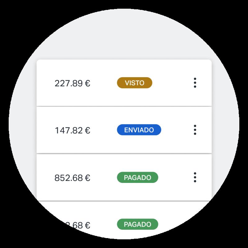 Captura de pantalla que muestra diferentes estados de facturas a medida que aparecen en la app de SumUp Facturas, lo que facilita poder ver rápidamente qué facturas han sido pagadas, enviadas, vistas, etc.