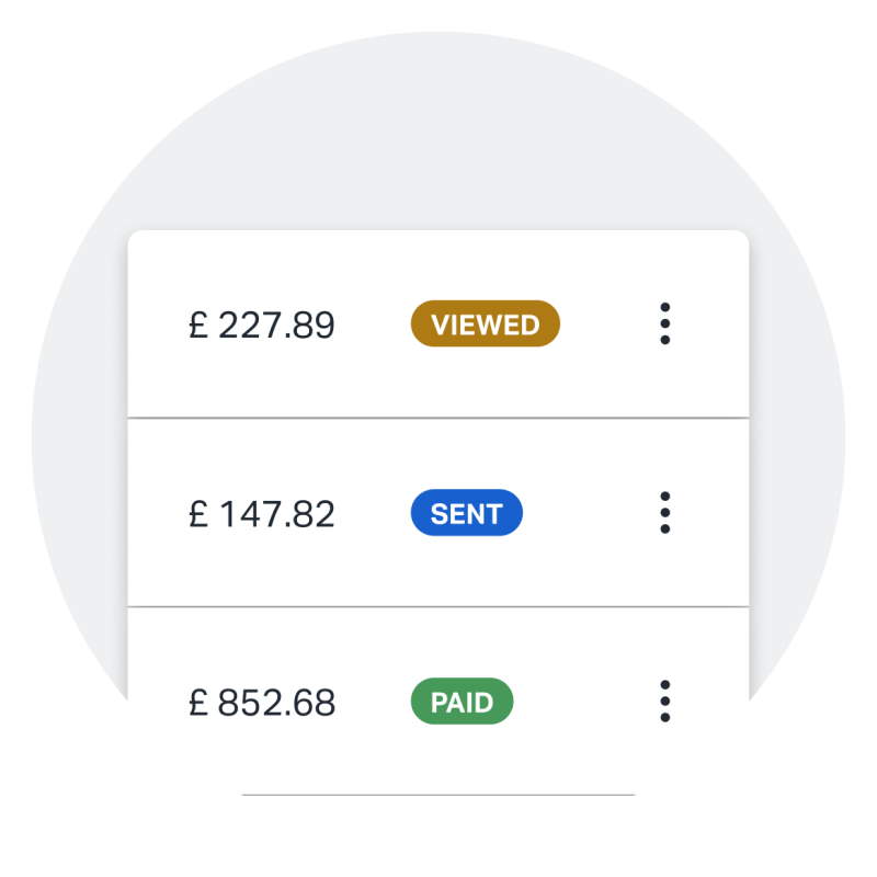 A screenshot showing a variety of different invoice statuses as they appear in the app, making it easy to quickly see which invoices are paid, unpaid, viewed, and more.