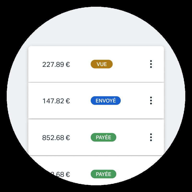 Une capture d'écran montrant une variété de différents statuts de facture comme ils apparaissent sur l'app, permettant de voir rapidement quelles factures sont payées, impayées, vues, et plus.