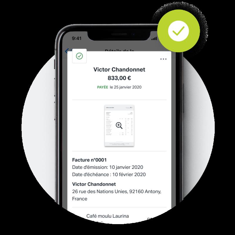 Une capture d'écran d'une facture finalisée qui a été marquée comme payée, créée avec SumUp Factures sur l'application mobile pour iPhone