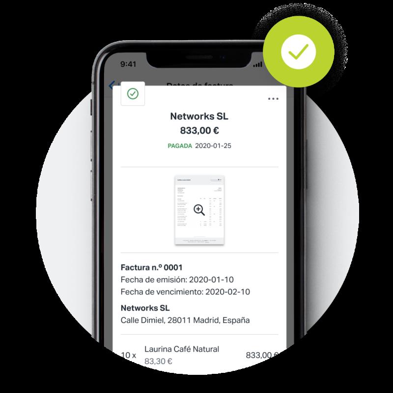"""Captura de pantalla de una factura que se ha marcado como """"Pagada"""", creada con SumUp Facturas en la aplicación móvil para iPhone."""