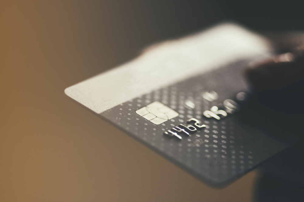 A close-up view of a credit card