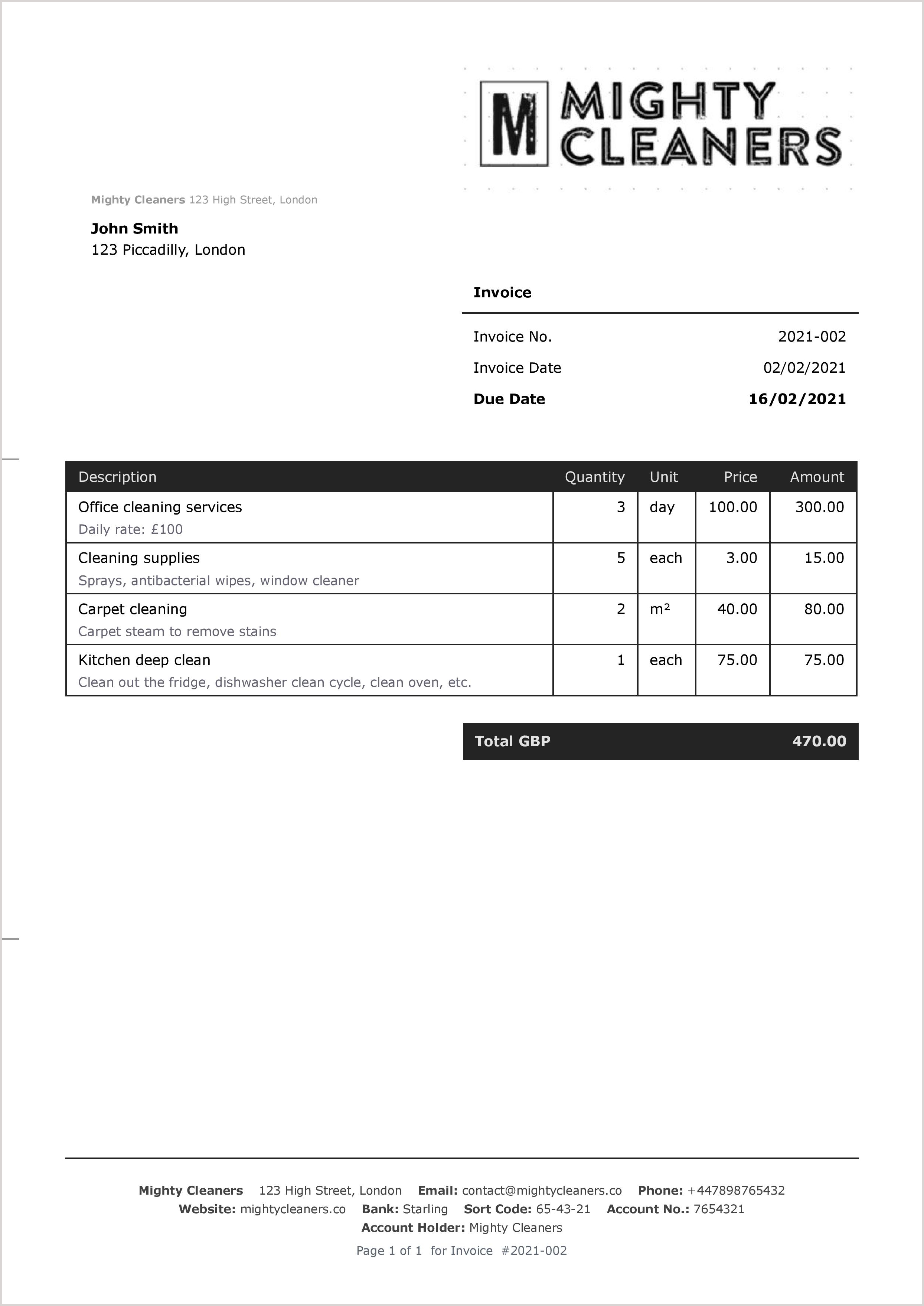 Invoice Templates For Cleaning Services Sumup Invoices