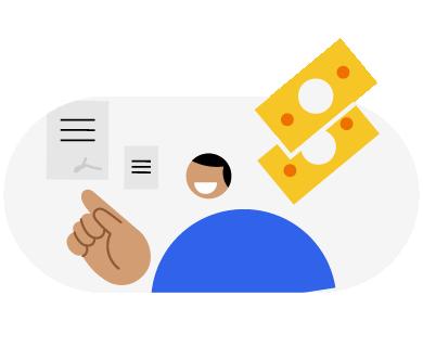 Ilustração representando dinheiro extra para o desenvolvimento profissional