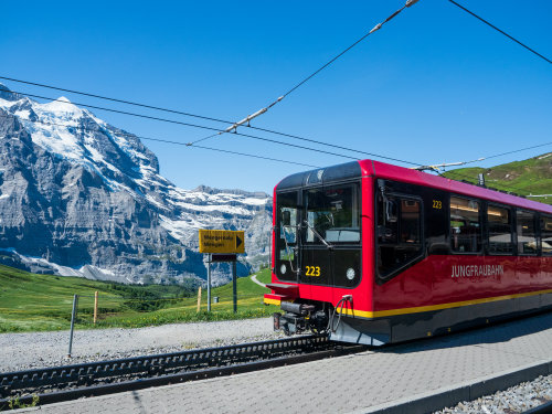 The Jungfraubahn close up, driving up the Jungfraujoch