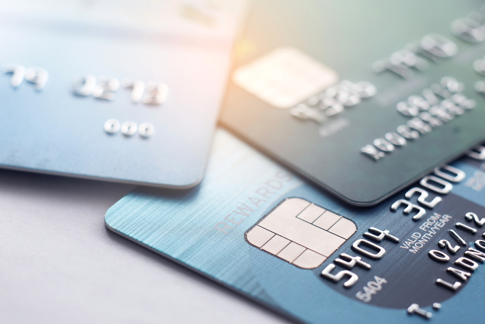 Credit cards placed on flat surface