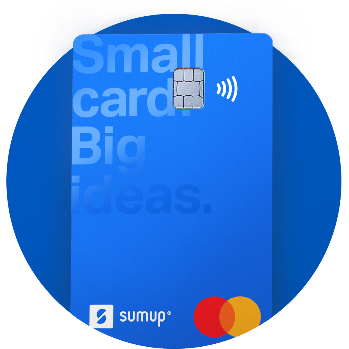 sumup credit cards falling in front of card readers on a blue background
