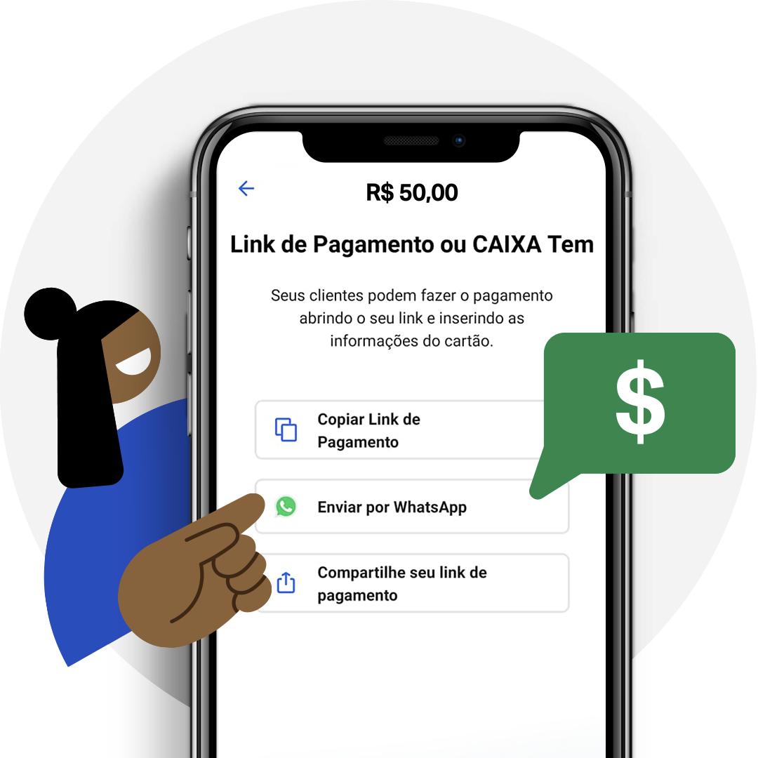 Tela de celular apresentando o link de pagamento grátis da SumUp. Com ele você pode vender pela Internet, pelo Instagram e também pelo WhatsApp.