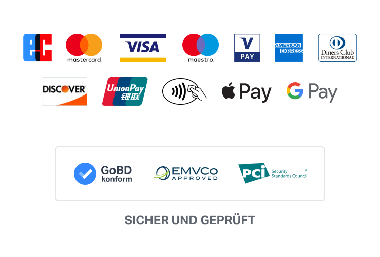 sumup zahlungsmethoden: ec, mastercard, visa, maestro, vpay, american express, diners club, discover, union pay, nfc, apple pay, gpay. Gobd konform, sicher und gerpueft.