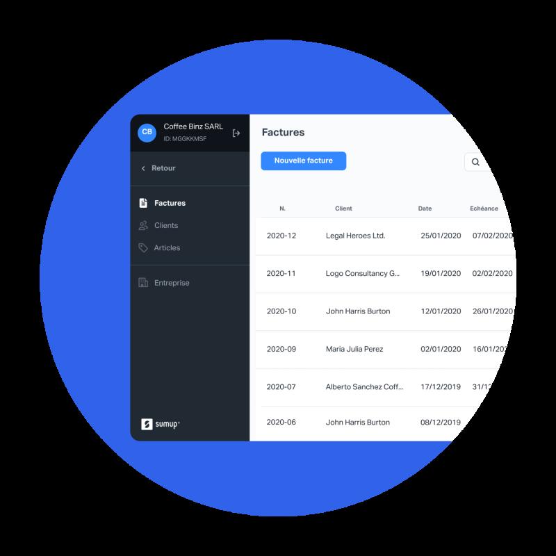 Multiple captures d'écran de l'application SumUp Factures montrant les paramètres de l'entreprise, la création d'une nouvelle facture, et l'envoi d'une facture.