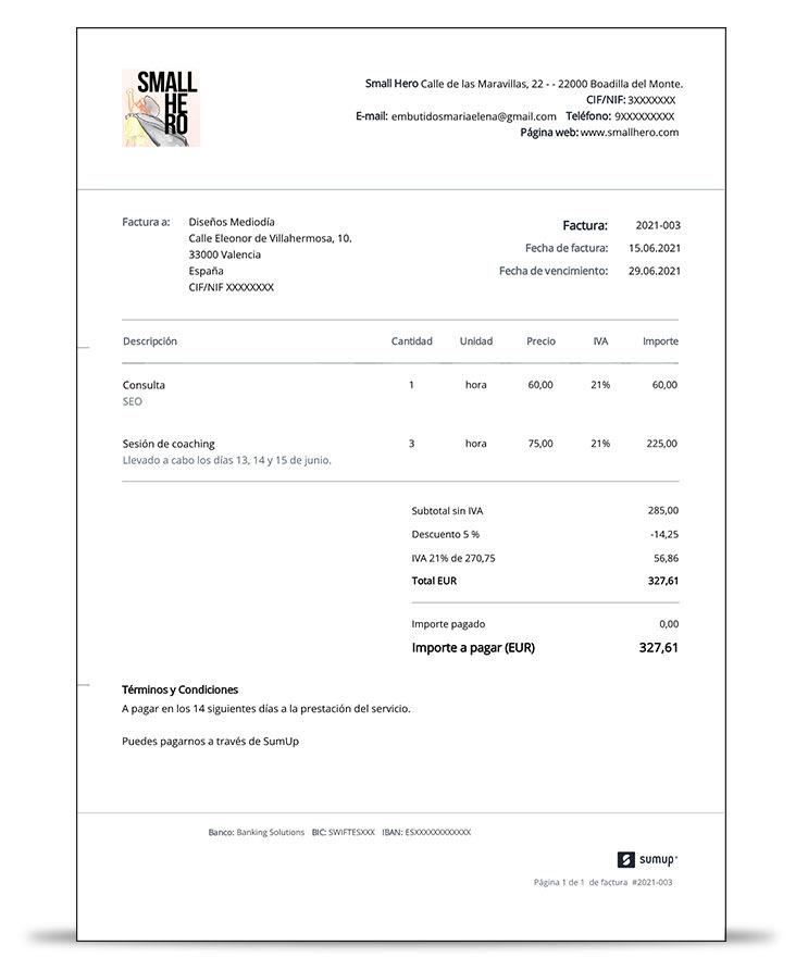 Ejemplo de factura con descuento creada con SumUp Facturas.