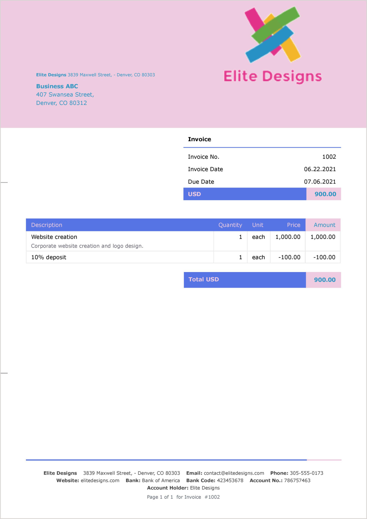 Example of a final invoice including a deposit.