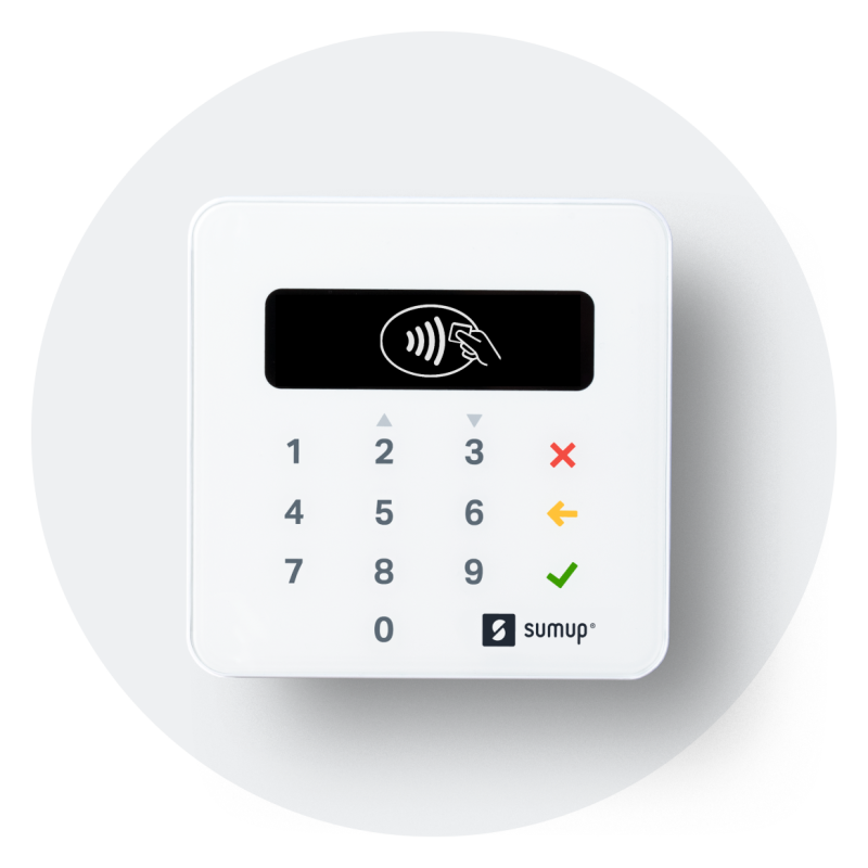Payments made via a card reader like the one shown in this image, in person, via an online payment link sent with an invoice, and more - can all be managed in one place with SumUp.
