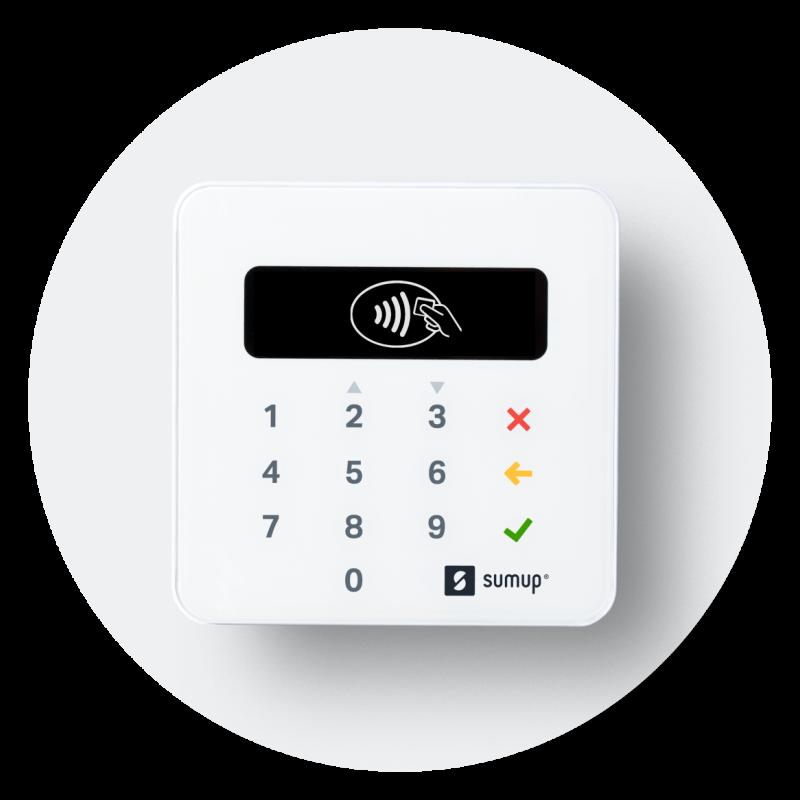 Terminal de paiement SumUp, modèle SumUp Air, pour accepter les paiements par cartes bancaires.