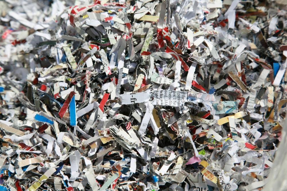 shredded financial documents