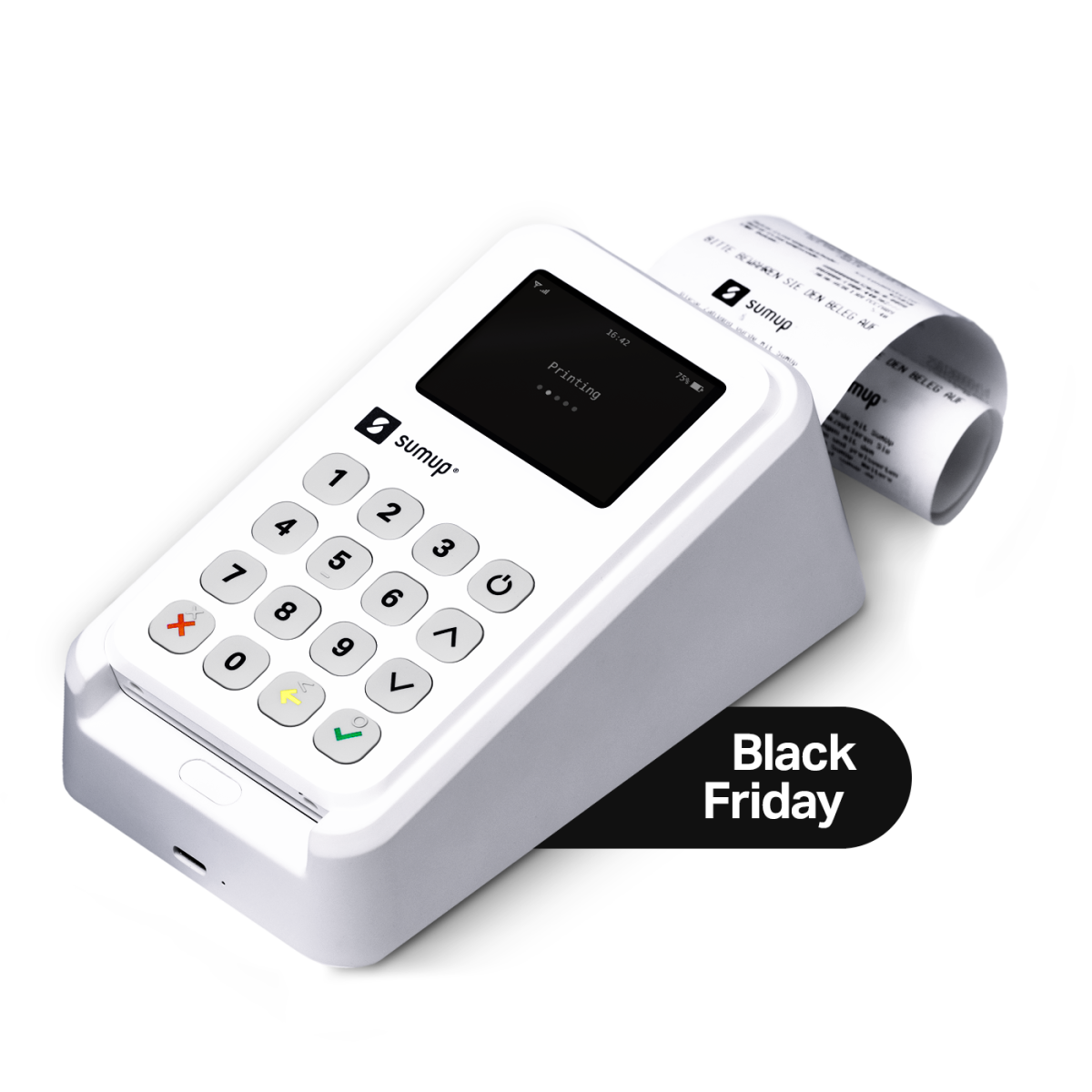 3g card reader in a printer cradle with a black friday label