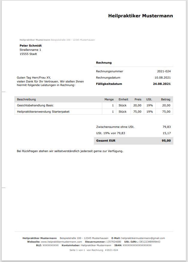 Rechnungsvorlage Heilpraktiker