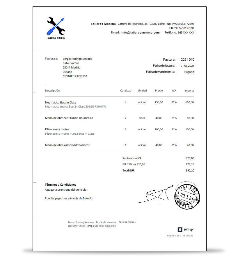 Ejemplo de factura para taller mecánico