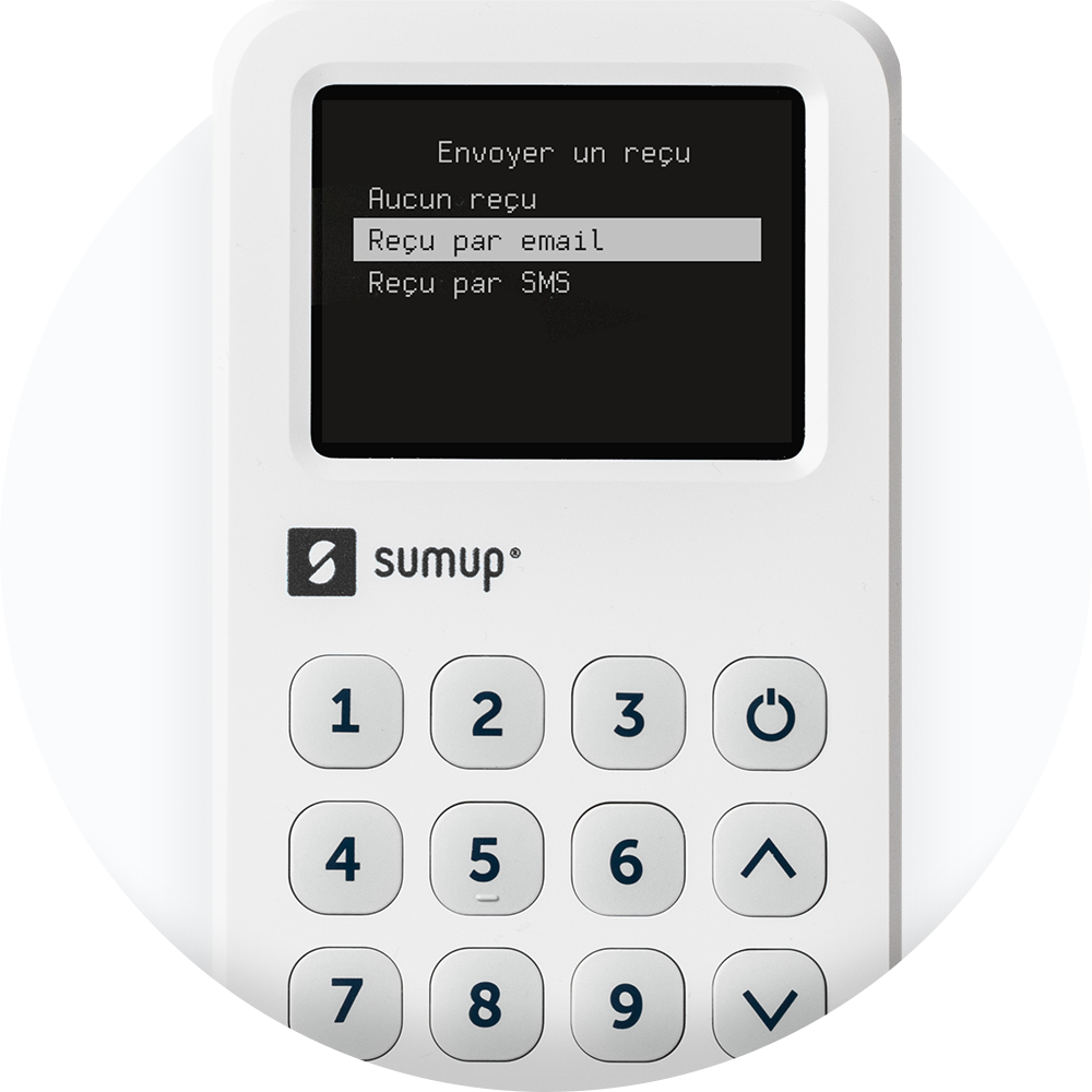A SumUp 3G card reader on a white backgroung