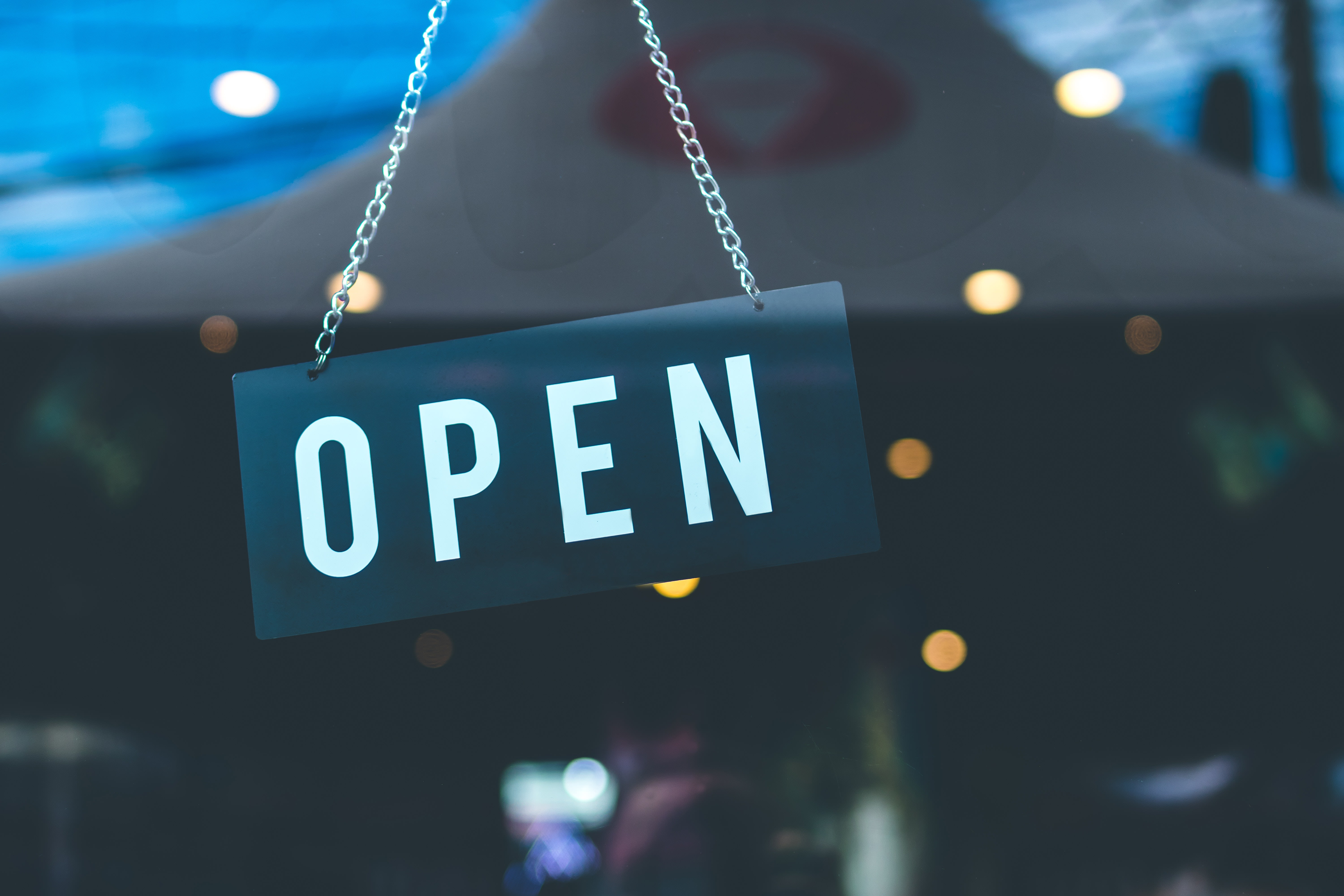 photo of an open sign