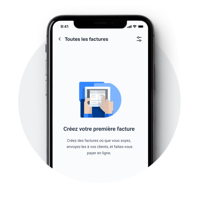 Application mobile SumUp Factures sur un iPhone montrant l'onglet des factures proposant à l'utilisateur de créer sa première facture.