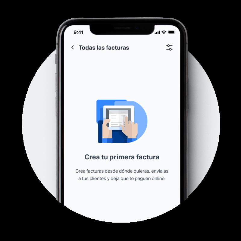 Aplicación móvil de SumUp en un iPhone durante los primeros pasos para crear una nueva factura con SumUp Facturas.