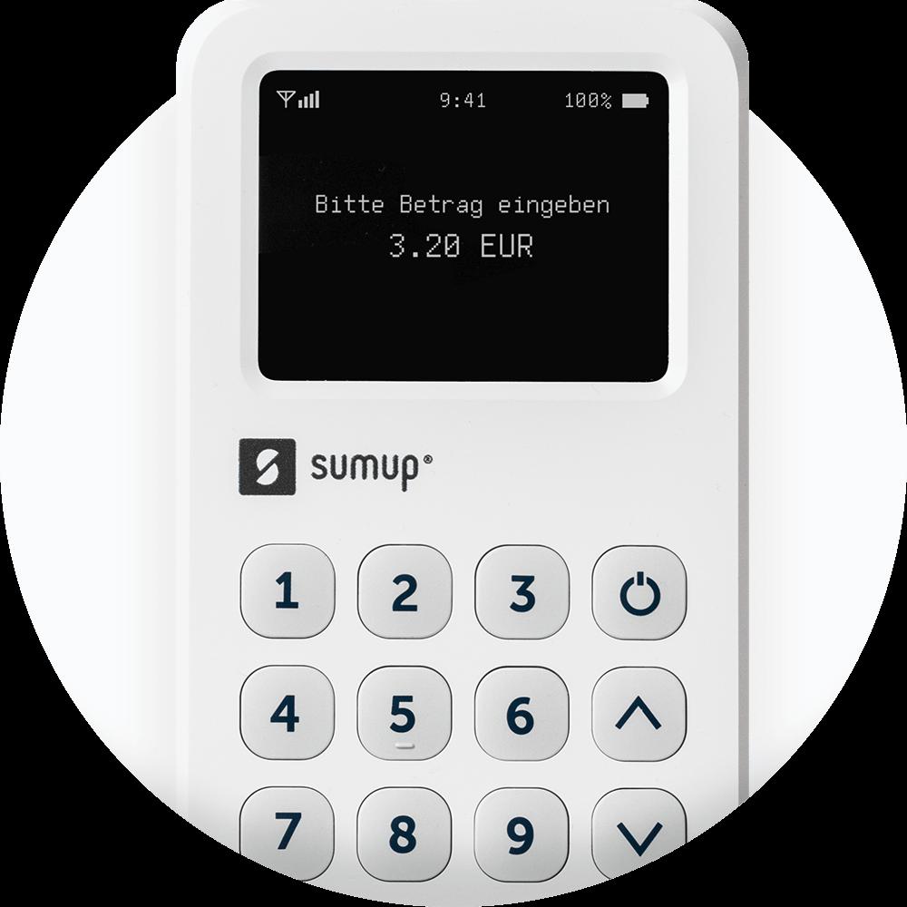 Das SumUp 3G-Kartenterminal auf einem weißen Hintergrund