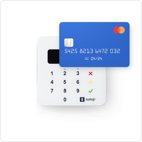 A payment card hovers over the SumUp Air card reader