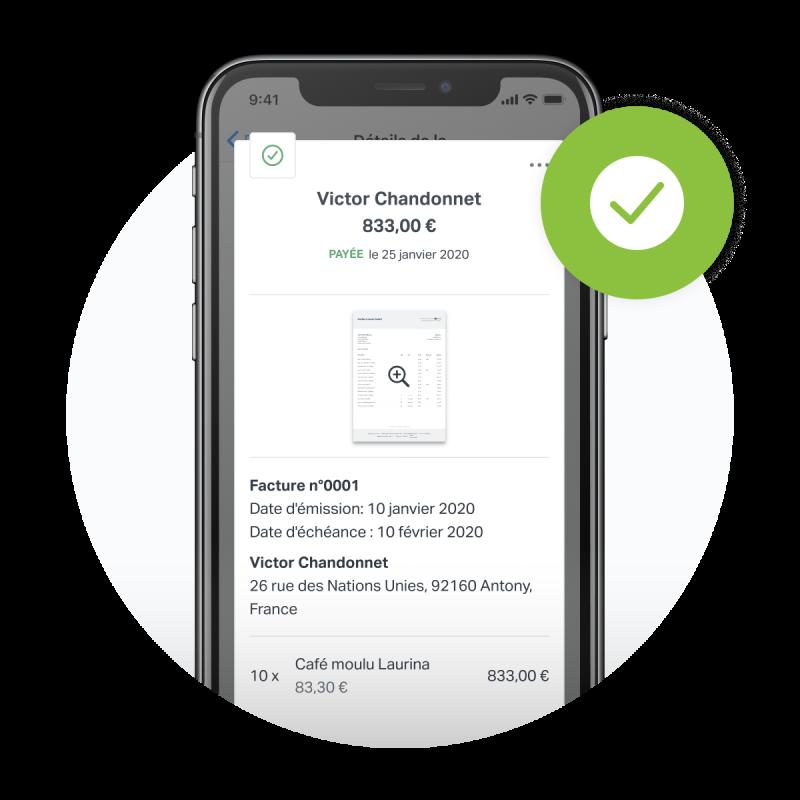 iPhone montrant le résume d'une facture finalisée avec SumUp Factures reprenant toutes les informations nécessaires.