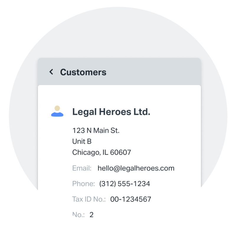 Invoicing is only part of SumUp Invoices. It also gives you tools to save and manage customer details from anywhere. This screenshot shows an example of a saved customer profile.