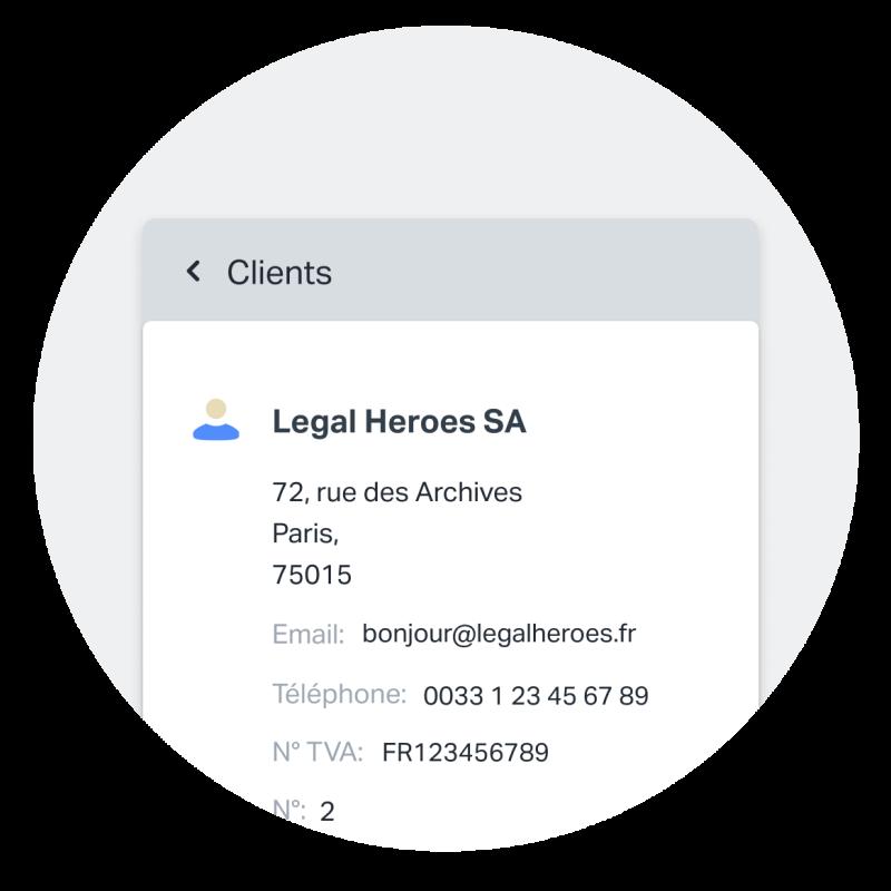 Capture d'écran d'une fiche client sur SumUp Factures montrant tous les détails enregistrés pour un client.