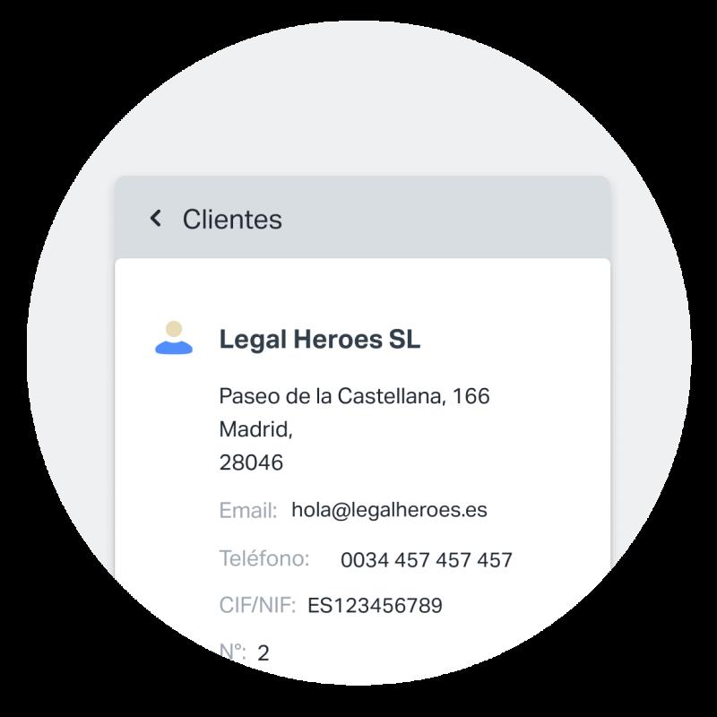 La facturación es solo una parte de SumUp Facturas. También te brinda herramientas para guardar y administrar la información de tus cliente estés donde estés. Esta captura de pantalla muestra un ejemplo de un perfil de cliente guardado.