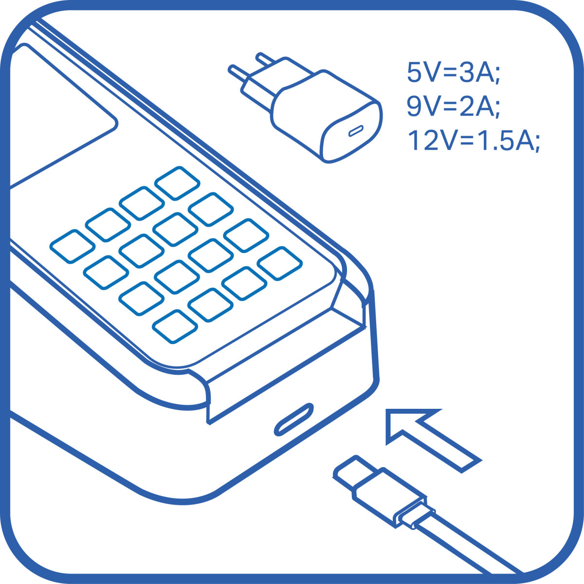 icon of a 3d cradle being plugged in via usb