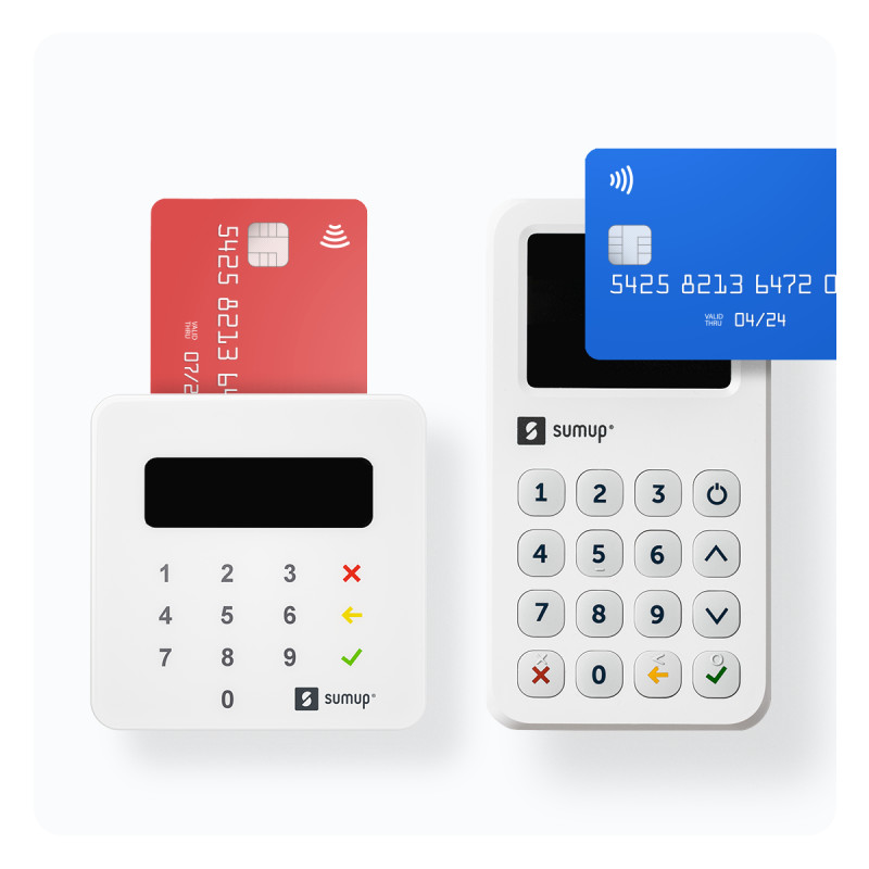 Card terminals side by side with hovering cards