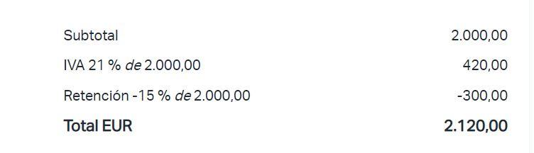 Cálculo de la retención y el IVA en una factura generada por SumUp Facturas