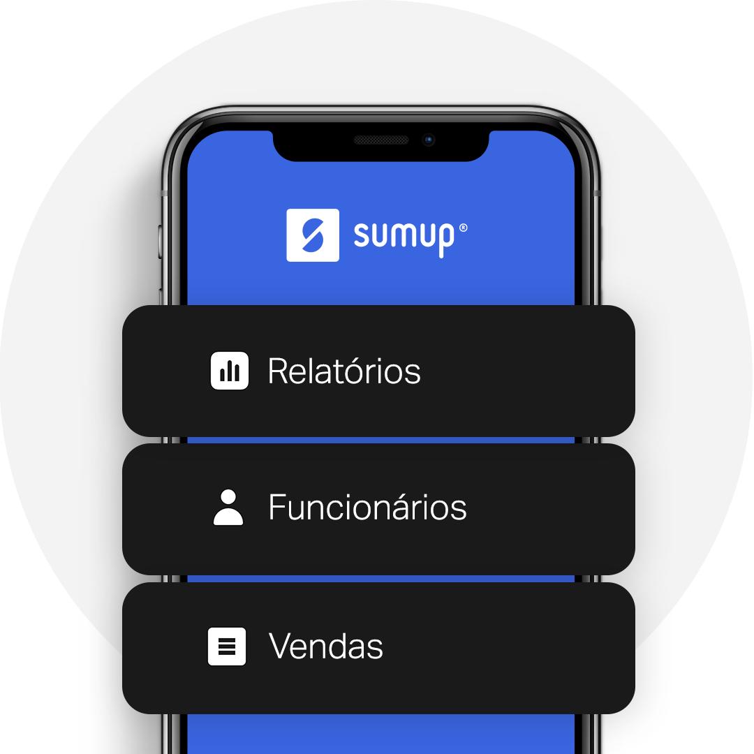 Tela de celular apresentando o aplicativo de gestão grátis da SumUp. Com ele você pode gerar relatórios, gerenciar seus funcionários e acompanhar suas vendas.