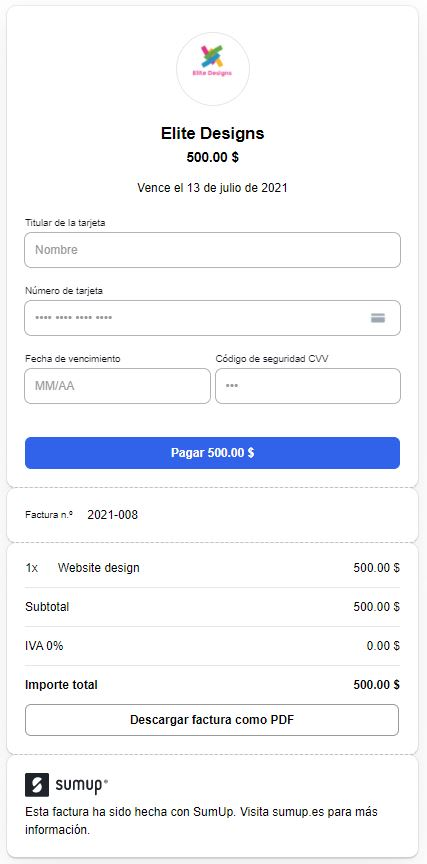 Example of how SumUp Invoices translated the payment page.
