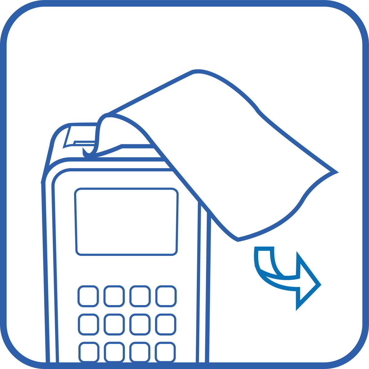 icon of receipt being torn away from 3g printer