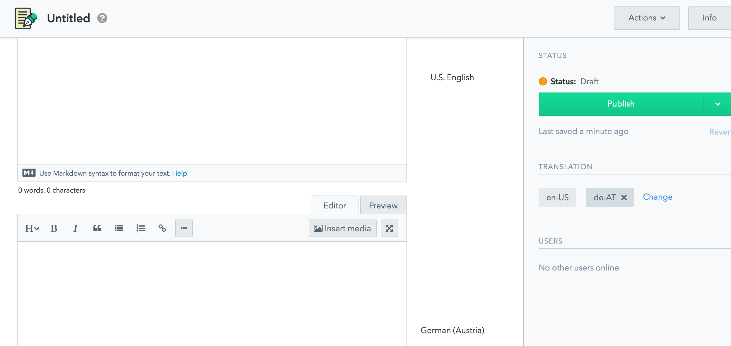 A field in the web app with a value for a particular translation