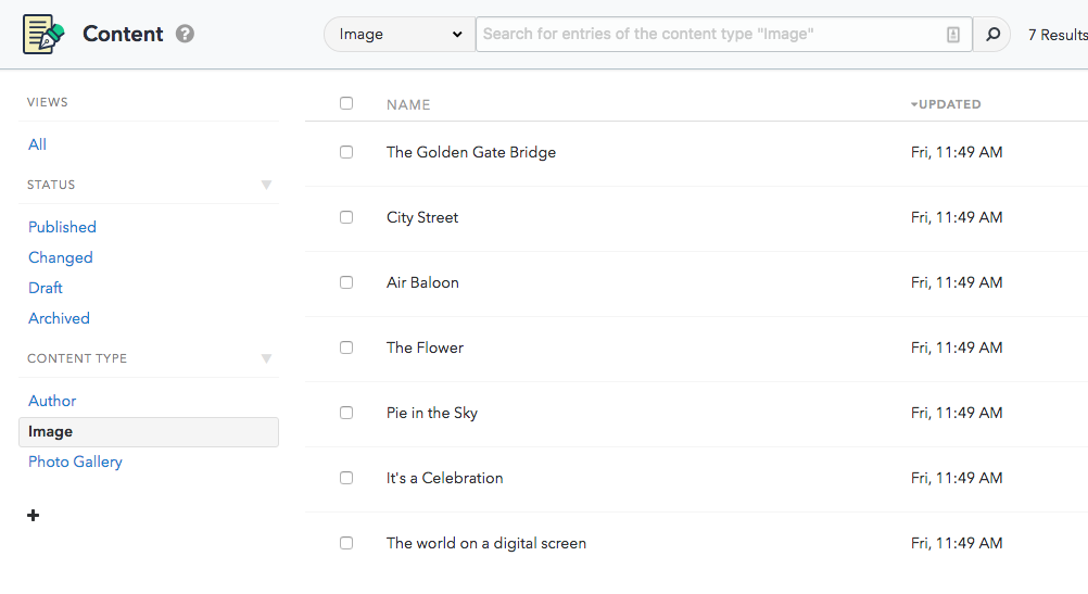 The Image content type selected and the entries it contains
