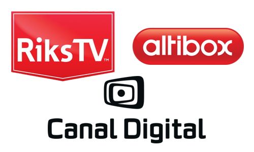 Logotyper för RiksTV, Altibox, Canal Digital
