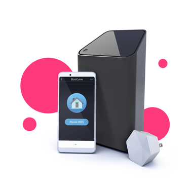 A collection of BlueCurve products, including the Gateway modem, a smartphone with the Home app and a Pod.