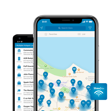 Shaw Go WiFi Finder app displaying hotspot map on both Android and iOS smartphones.