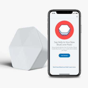 The Pod activation screen for the BlueCurve Home app alongside a Pod.