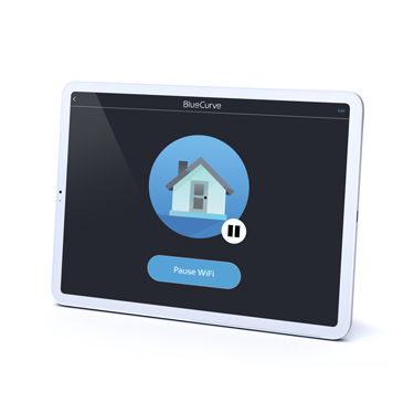 Tablet with BlueCurve home app on screen