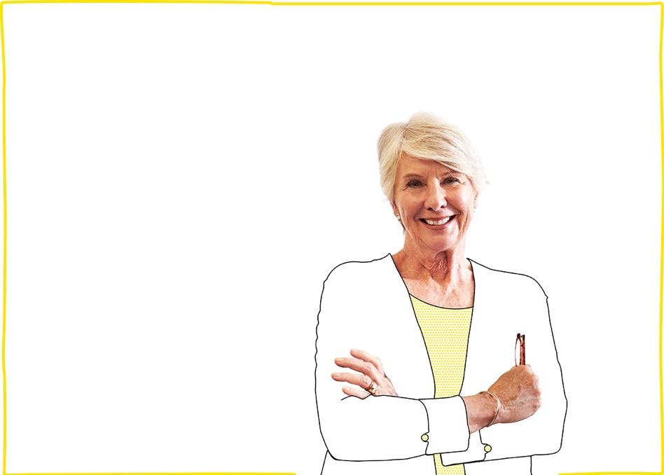Mujer mayor contenta tras conocer nuestra tarifa de teléfono fijo